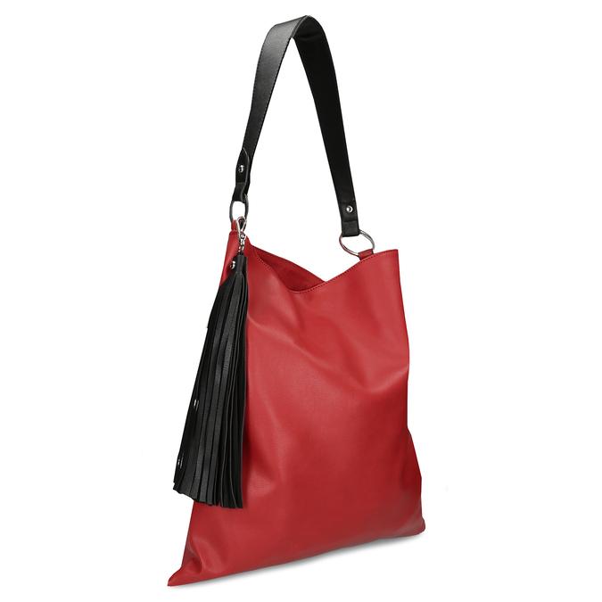 Červená dámská koženková kabelka s černým uchem bata, červená, 961-5670 - 13