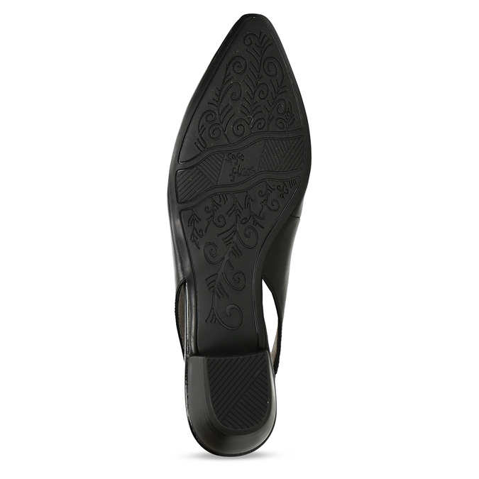 Černé dámské kožené lodičky s otevřenou patou bata, černá, 624-6644 - 18