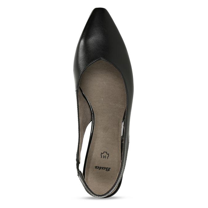 Černé dámské kožené lodičky s otevřenou patou bata, černá, 624-6644 - 17