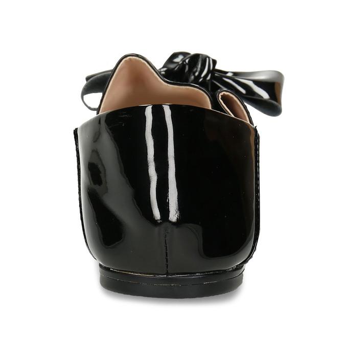 Černé dámské lakované baleríny s mašlí bata, černá, 521-6614 - 15