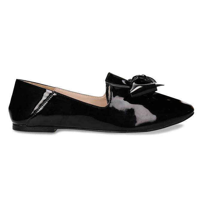Černé dámské lakované baleríny s mašlí bata, černá, 521-6614 - 19