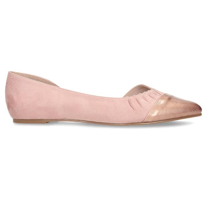 Růžové dámské baleríny s asymetrickým střihem bata, růžová, 529-8603 - 19