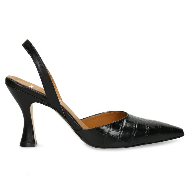 Černé dámské kožené lodičky s otevřenou patou bata, černá, 726-6600 - 19
