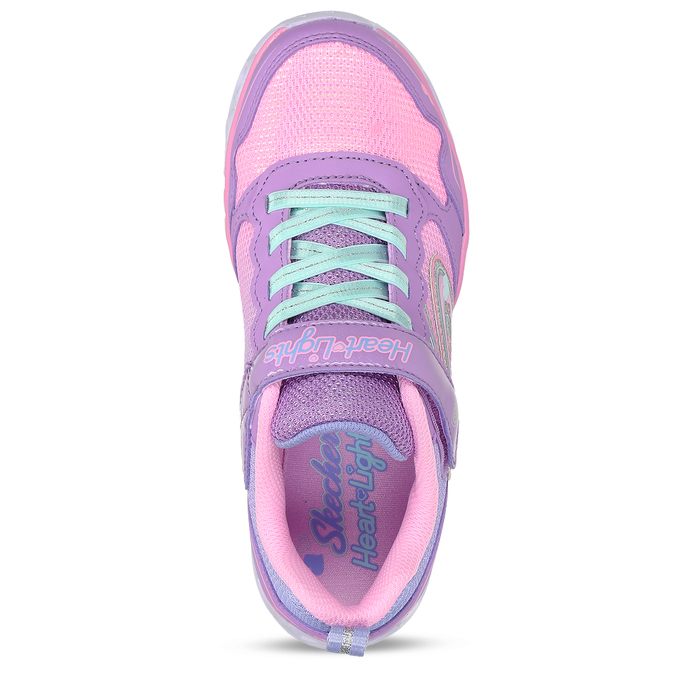 Fialové dětské sneakersky se svítícími srdíčky v podešvi skechers, fialová, 309-9619 - 17