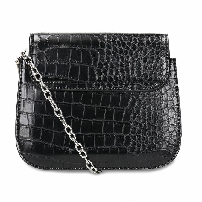 Černá dámská koženková kabelka bata, černá, 960-6679 - 16