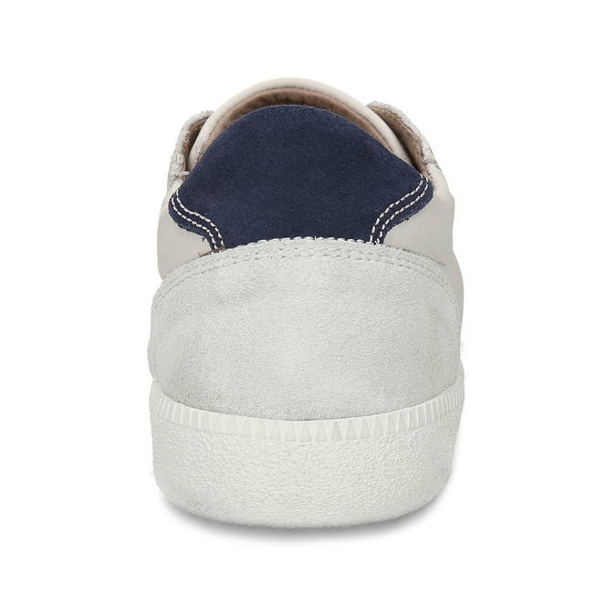 Bílé pánské kožené tenisky s černou patou bata, bílá, 844-1605 - 15