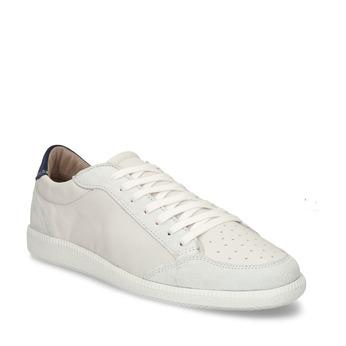 Bílé pánské kožené tenisky s černou patou bata, bílá, 844-1605 - 13