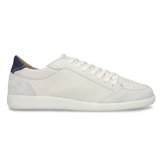 Bílé pánské kožené tenisky s černou patou bata, bílá, 844-1605 - 19