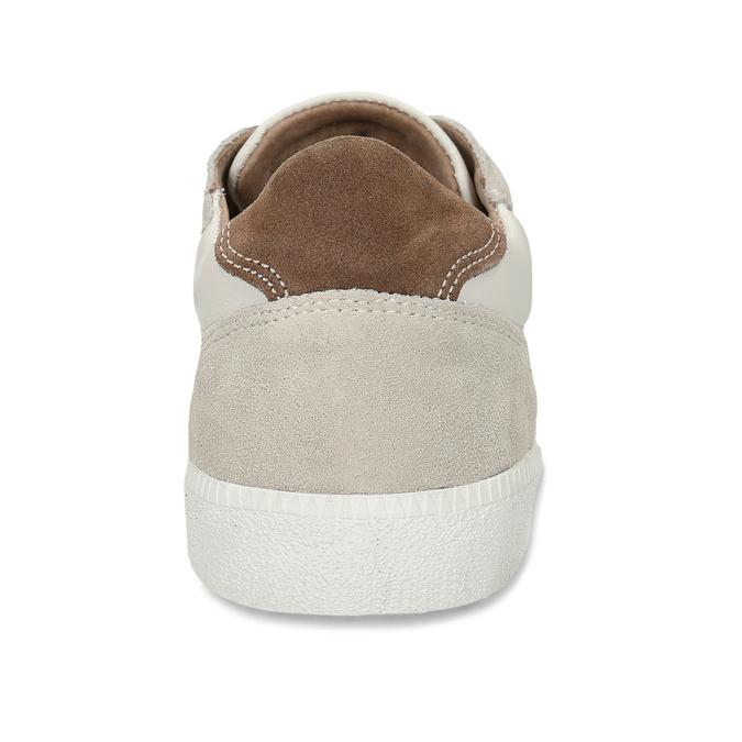 Bílé pánské kožené tenisky s hnědou patou bata, béžová, 844-8605 - 15