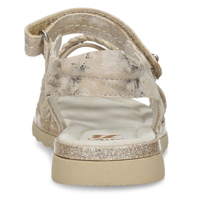 Béžové dívčí páskové sandály mini-b, béžová, 361-8600 - 15