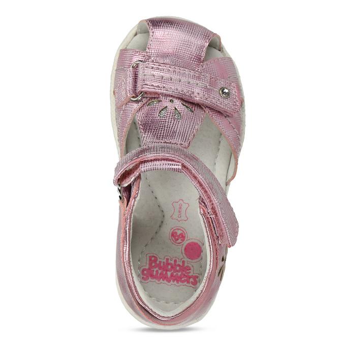 Lesklé růžové dívčí sandály s kytičkami bubblegummers, růžová, 161-5603 - 17