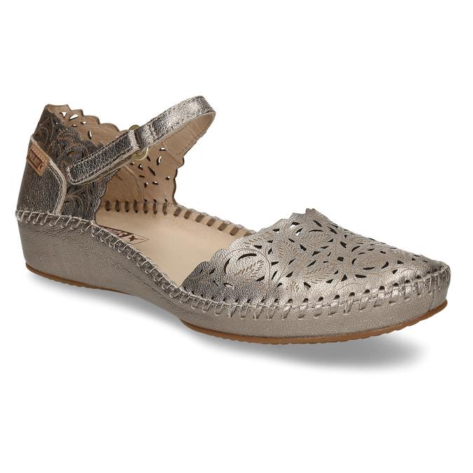 Stříbrné dámské kožené sandály s dekorativní perforací pikolinos, stříbrná, 524-1634 - 13