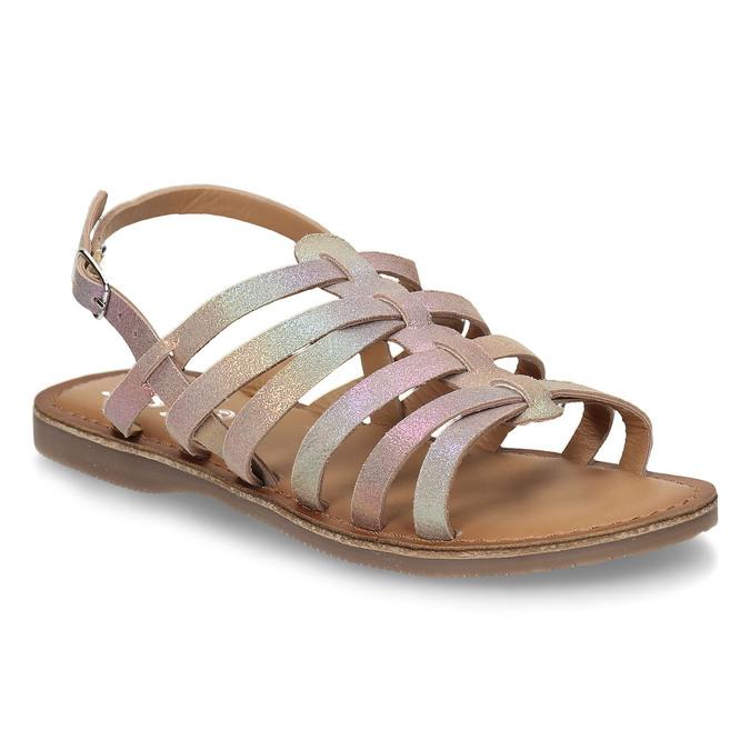 Neonové dívčí kožené sandály mini-b, vícebarevné, 365-4698 - 13