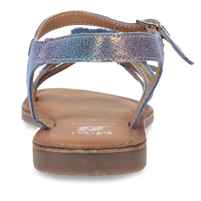 Neonové dívčí kožené sandály s listy mini-b, modrá, 365-9697 - 15