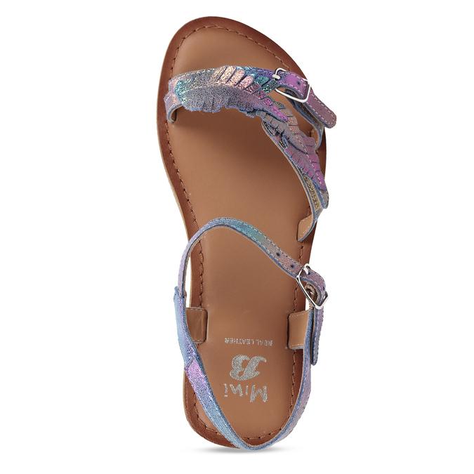Neonové dívčí kožené sandály s listy mini-b, modrá, 365-9697 - 17