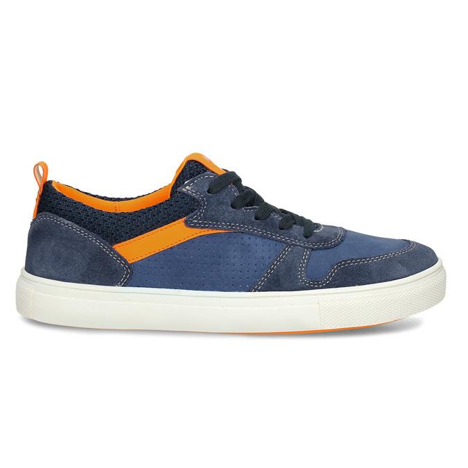 Modré dětské kožené tenisky s oranžovými detaily mini-b, modrá, 416-9605 - 19