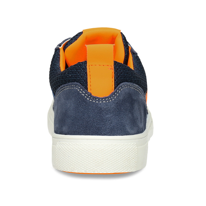 Modré dětské kožené tenisky s oranžovými detaily mini-b, modrá, 416-9605 - 15