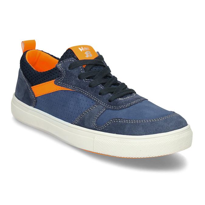 Modré dětské kožené tenisky s oranžovými detaily mini-b, modrá, 416-9605 - 13