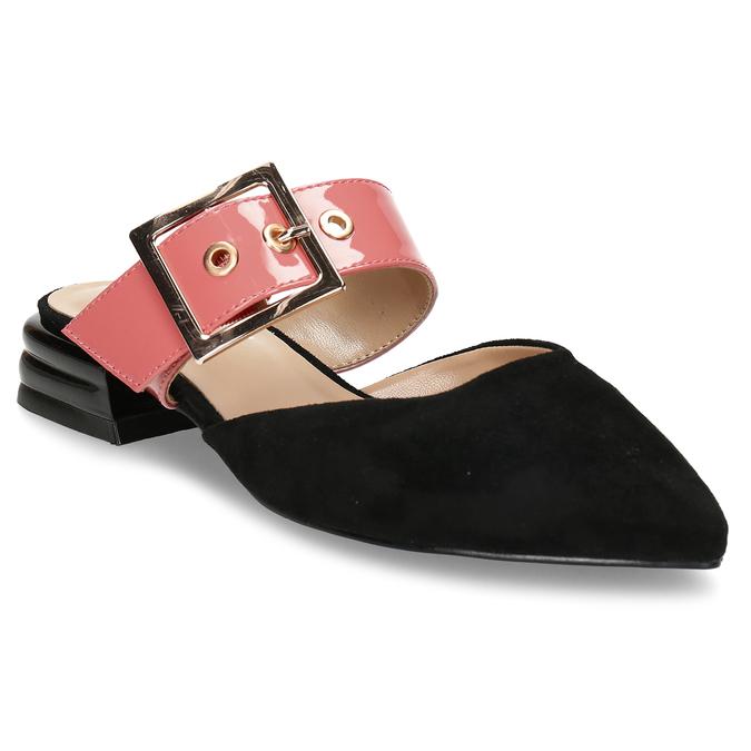 Černé dámské pantofle s růžovým páskem a koženou stélkou bata, růžová, 529-5608 - 13