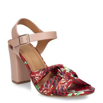 Barevné dámské sandály s koženou stélkou na podpatku bata, červená, 751-5601 - 13
