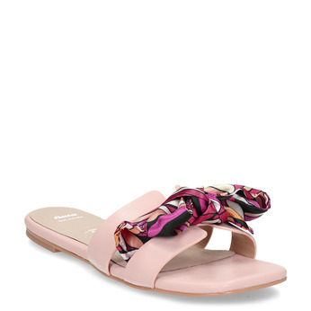 Růžové dámské pantofle s barevnou mašlí bata, růžová, 559-5600 - 13