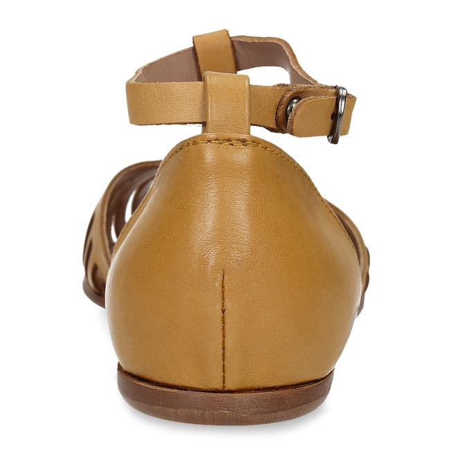 Hořčicové dámské kožené sandály bata, žlutá, 524-8610 - 15