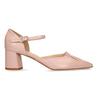 Béžové kožené lodičky na stabilním podpatku bata, růžová, 724-5600 - 19
