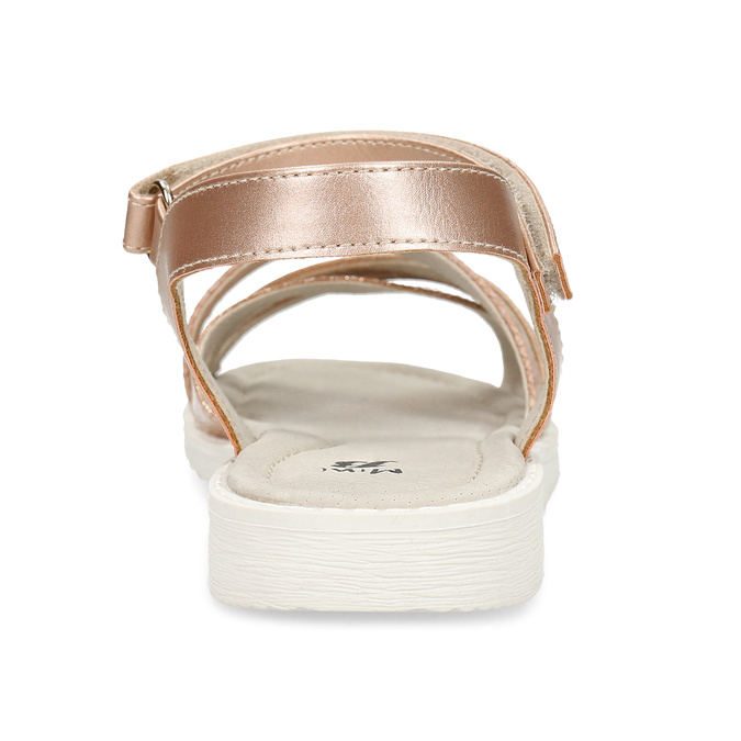 Zlaté dívčí sandály na suchý zip mini-b, zlatá, 321-8618 - 15