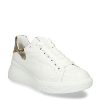 Bílé dámské kožené tenisky na vysoké podešvi hogl, bílá, 544-1610 - 13