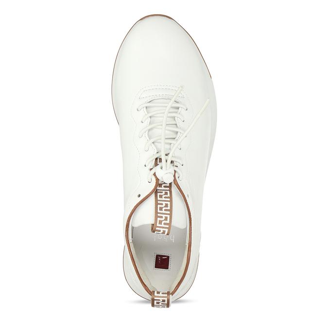 Bílé dámské kožené tenisky s hnědým detailem hogl, bílá, 544-1614 - 17