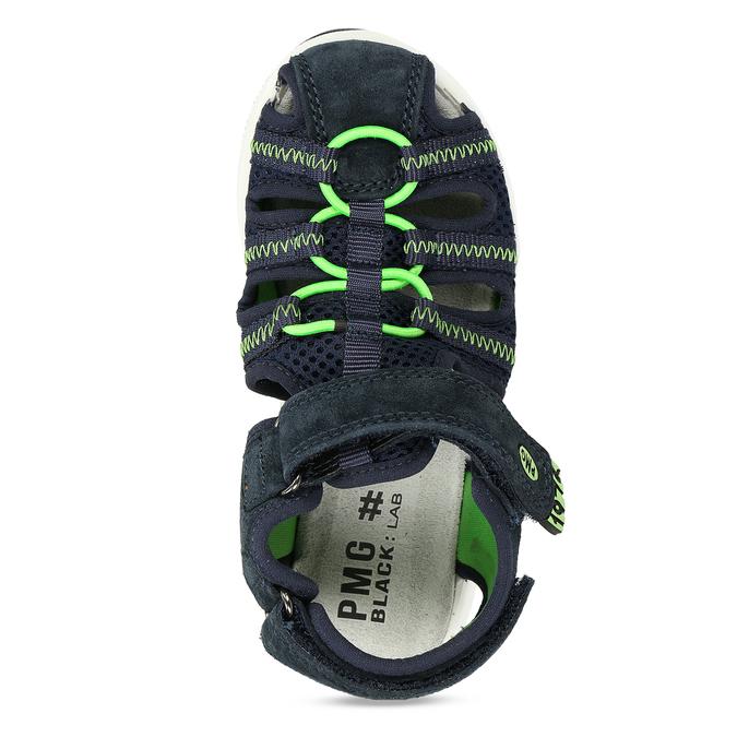 Modré dětské sandály se zelenými prvky a koženým svrškem primigi, modrá, 266-6609 - 17
