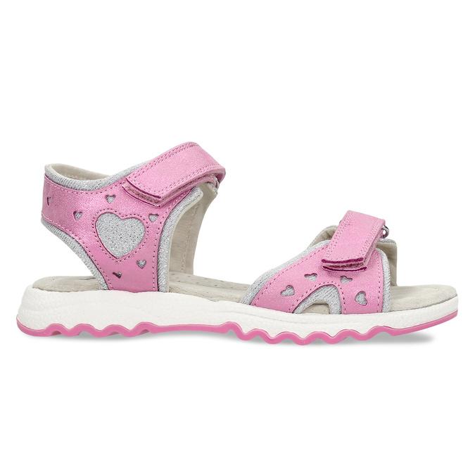 Růžové dívčí kožené sandály se srdcem na straně mini-b, růžová, 261-5616 - 19