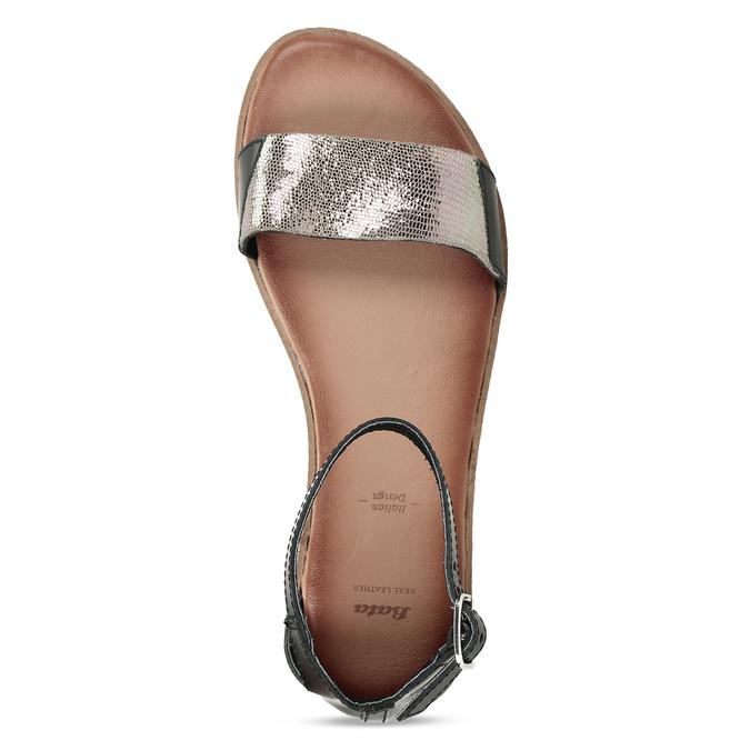 Kožené černé dámské sandály s metalickým vzorem bata, černá, 564-6619 - 17