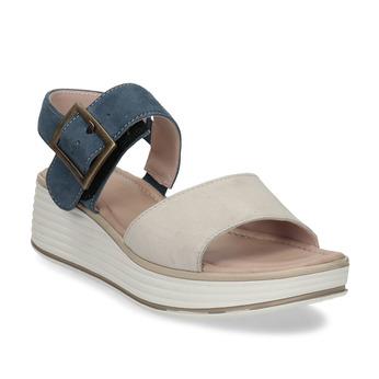 Béžovo-modré kožené dámské sandály na klínku bata, béžová, 663-8602 - 13