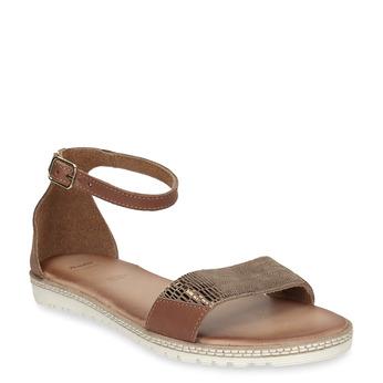 Kožené hnědé dámské sandály s metalickým hadím vzorem bata, hnědá, 564-4619 - 13