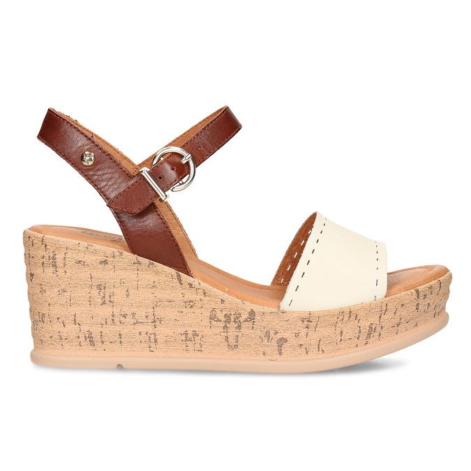 Bílo-hnědé dámské kožené sandály na klínovém podpatku pikolinos, bílá, 664-1620 - 19