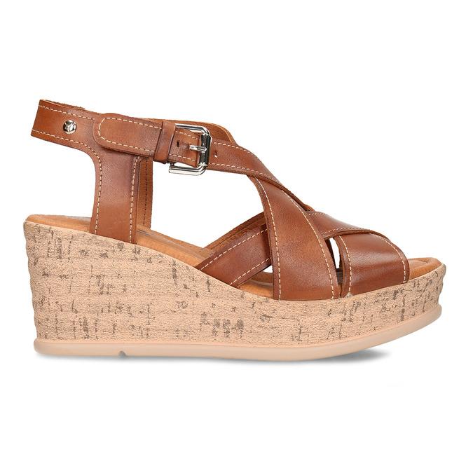 Hnědé dámské kožené sandály na klínovém podpatku pikolinos, hnědá, 664-4620 - 19