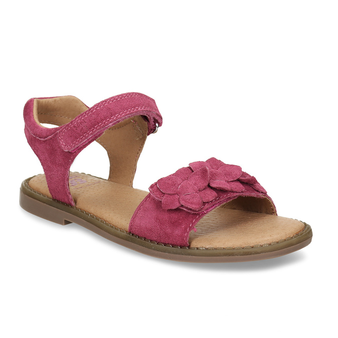 Tmavě růžové dětské kožené sandály mini-b, růžová, 366-5603 - 13