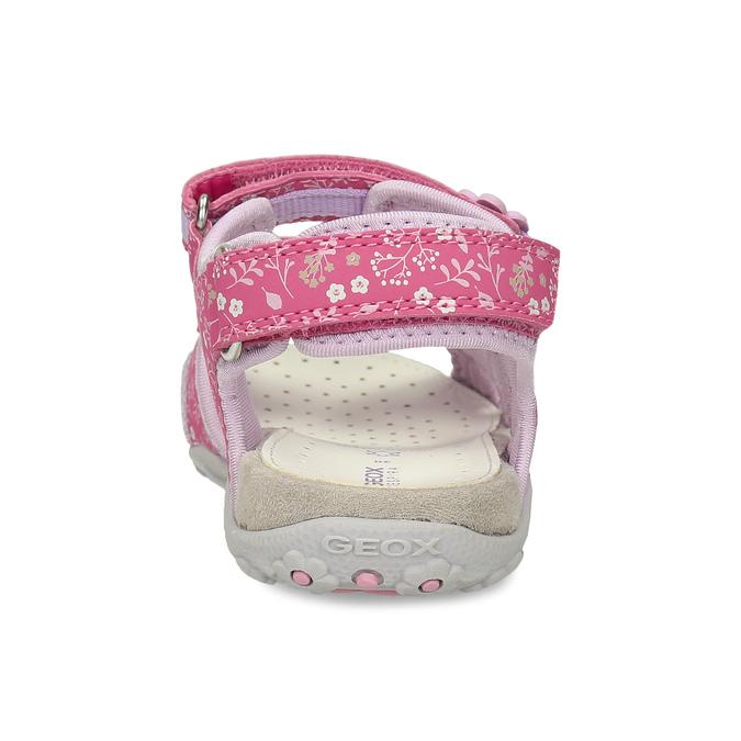 Růžové dětské sandály s květinovým potiskem geox, růžová, 369-5618 - 15