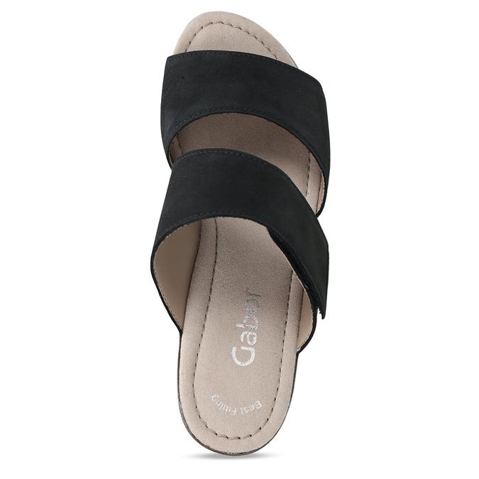 Černé dámské kožené pantofle gabor, modrá, 666-9602 - 17
