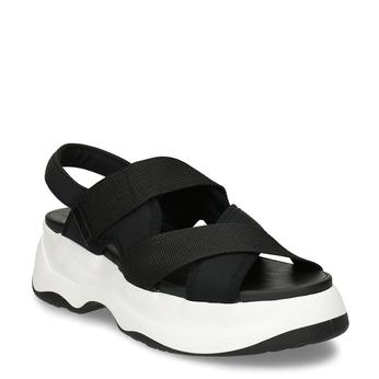 Černé dámské kožené sandály na robustní podešvi vagabond, černá, 569-6600 - 13