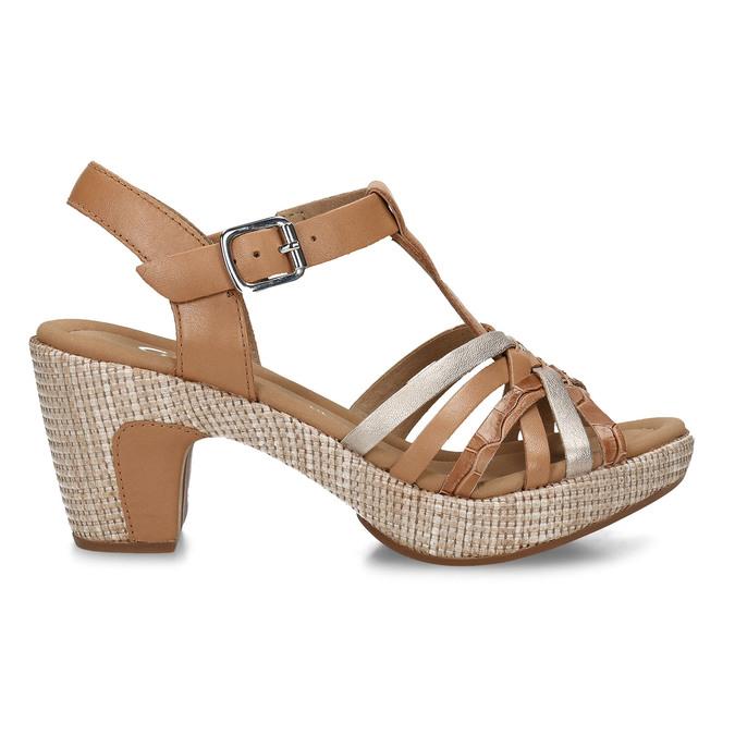 Hnědé dámské kožené sandály na podpatku gabor, hnědá, 666-0600 - 19
