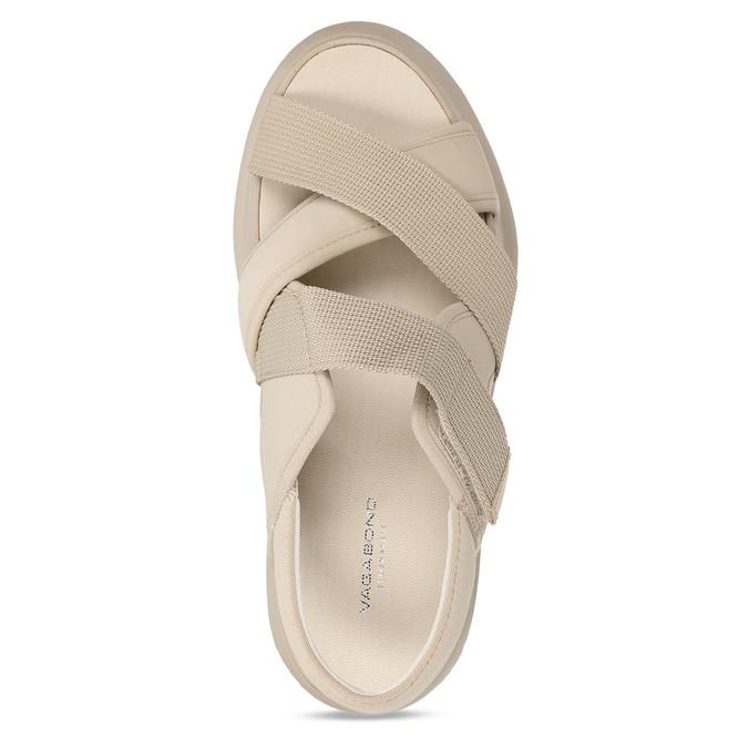 Béžové dámské kožené sandály na robustní podešvi vagabond, béžová, 569-1600 - 17