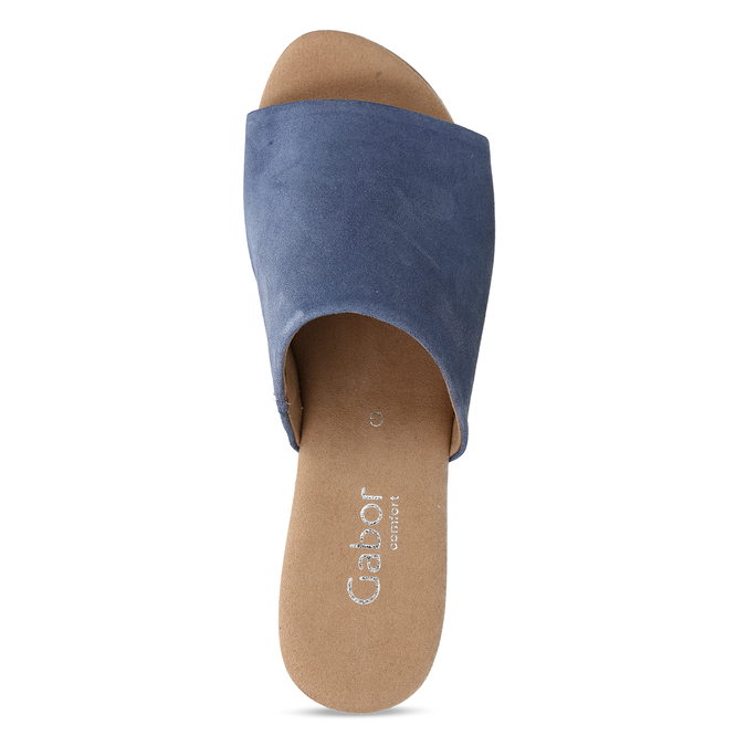 Modré dámské kožené pantofle na podpatku gabor, modrá, 663-9600 - 17