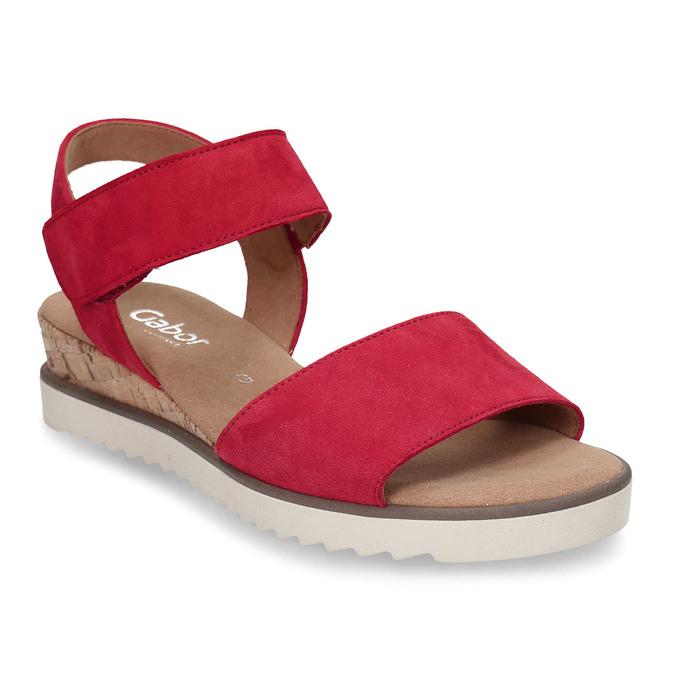 Červené dámské kožené sandály na nízkém klínku gabor, červená, 663-5600 - 13