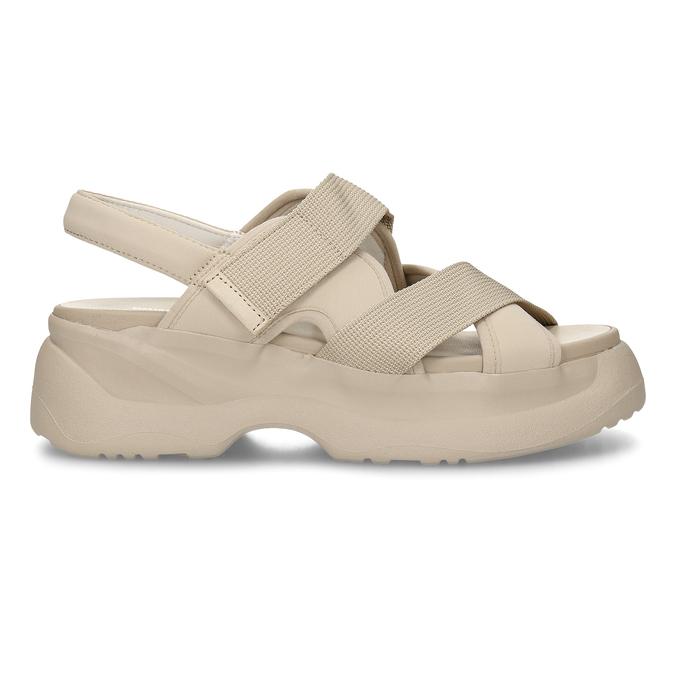 Béžové dámské kožené sandály na robustní podešvi vagabond, béžová, 569-1600 - 19