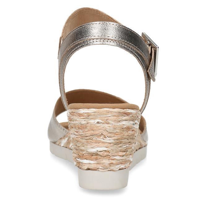 Stříbrné dámské kožené sandály na klínku gabor, zlatá, 666-8608 - 15
