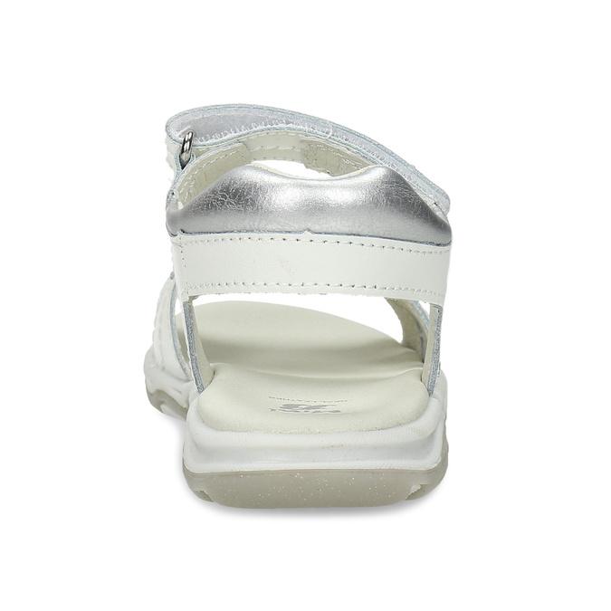 Bílé kožené dívčí sandály s hvězdičkami mini-b, bílá, 264-1601 - 15