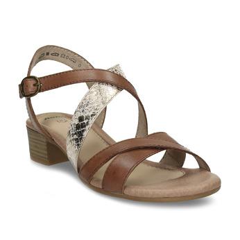 Hnědé kožené dámské páskové sandály s hadím vzorem bata, hnědá, 664-4623 - 13