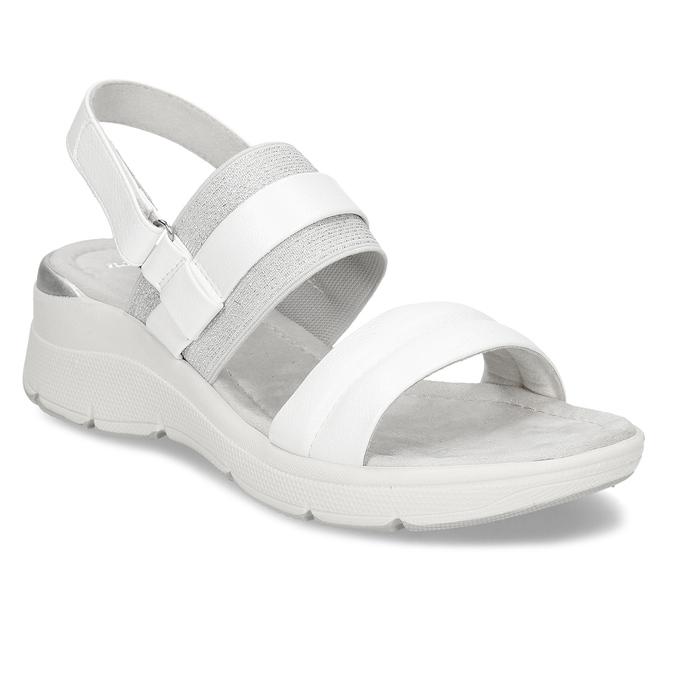 Bílé dámské sandály na klínovém podpatku bata, bílá, 661-1600 - 13